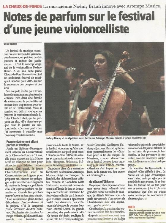 """2014 - Festival Artempo, article de """"L'impartial"""""""