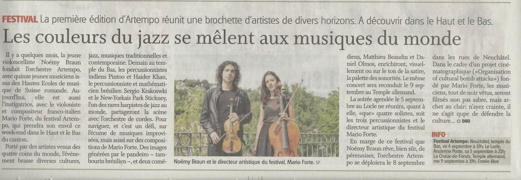 """2015 - Festival Artempo, article de """"Ville de Neuchâtel"""""""