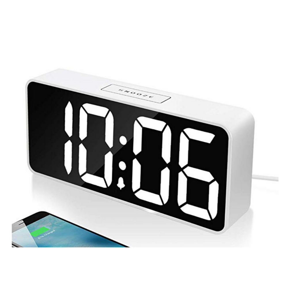 Alarm Clock - Modern design, dimmer, sound options, and charges his phone.