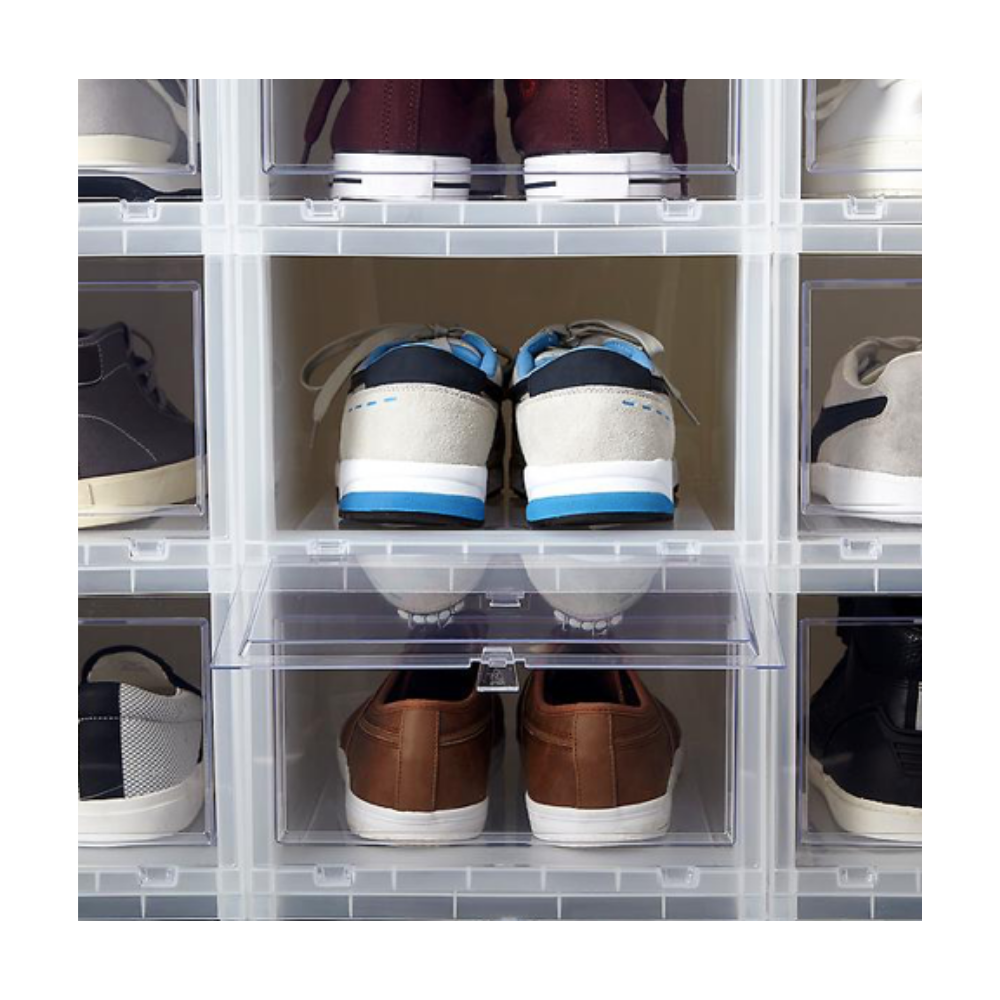 Men's Drop-Front Shoe Box - Does your Dad have a shoe problem? Help him get organized with these stackable storage boxes.