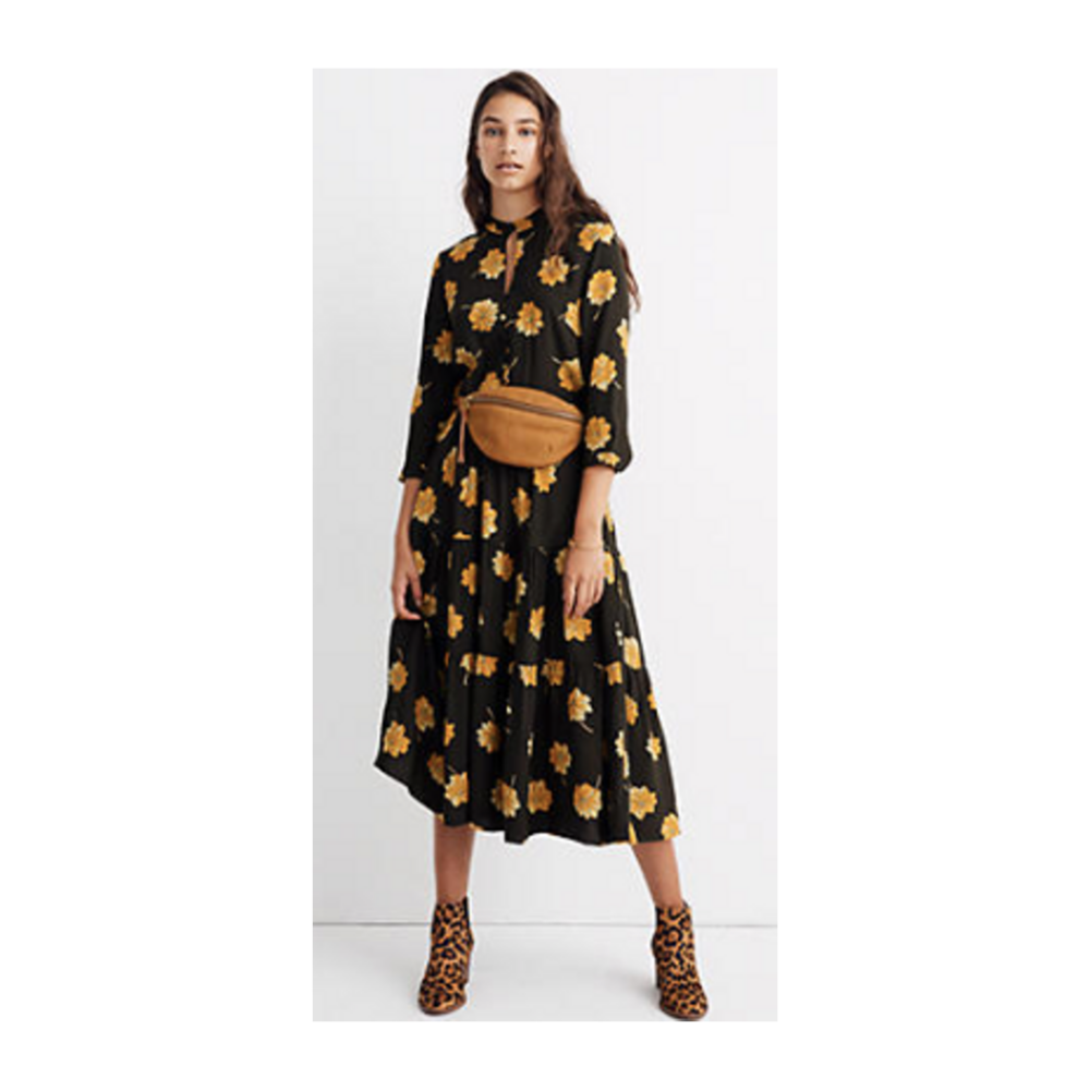 """Button-Front Tier Dress in Fall Flowers - Two of us own this dress and we both feel very """"on season"""" when we wear it. Easy to wear and oh so comfortable."""