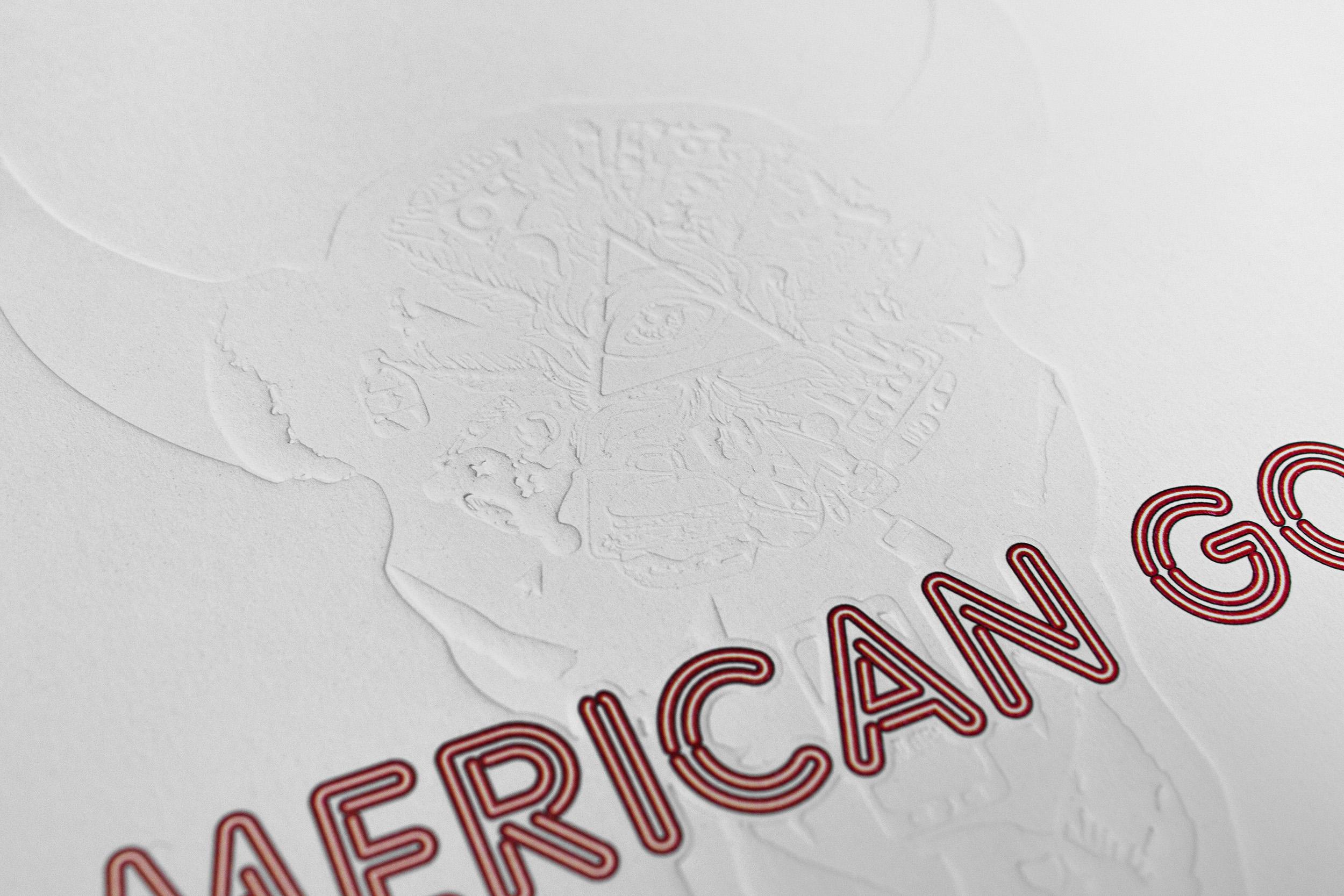 American Gods blind embossed brochure cover