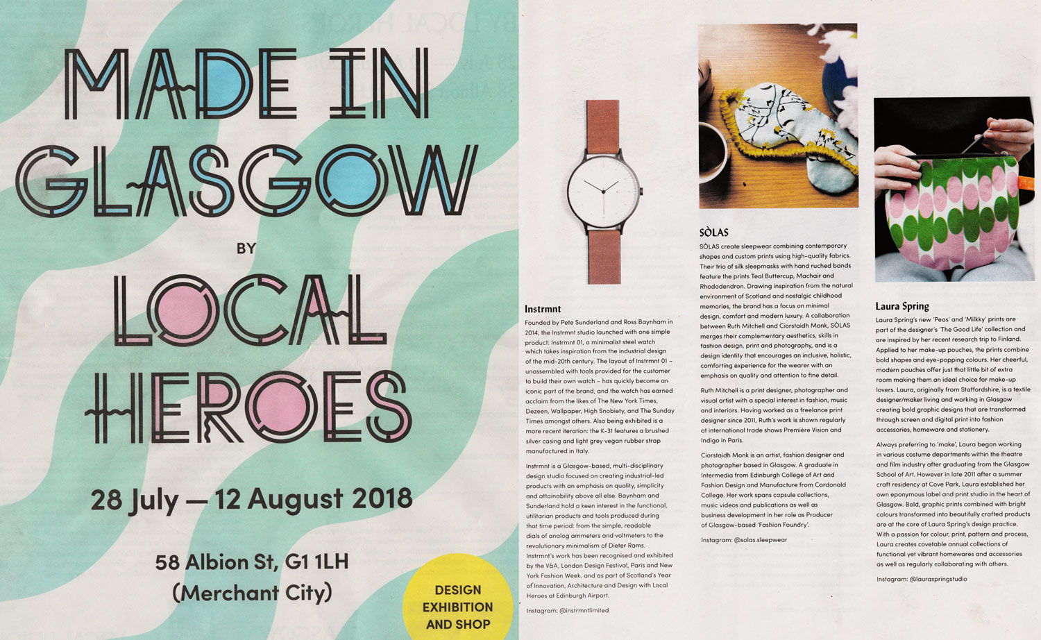 Made in Glasgow by Local Heroes, August 2018