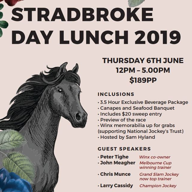 🏇We are super excited to be putting on an extravagant lunch for the Stradbroke Race this year! 🏇 Get a group together and come along for the day! 🥂 🍾🍻 LIMITED TICKETS AVAILABLE! BOOKINGS ESSENTIAL Contact us - events@sixfeetundernewstead.com