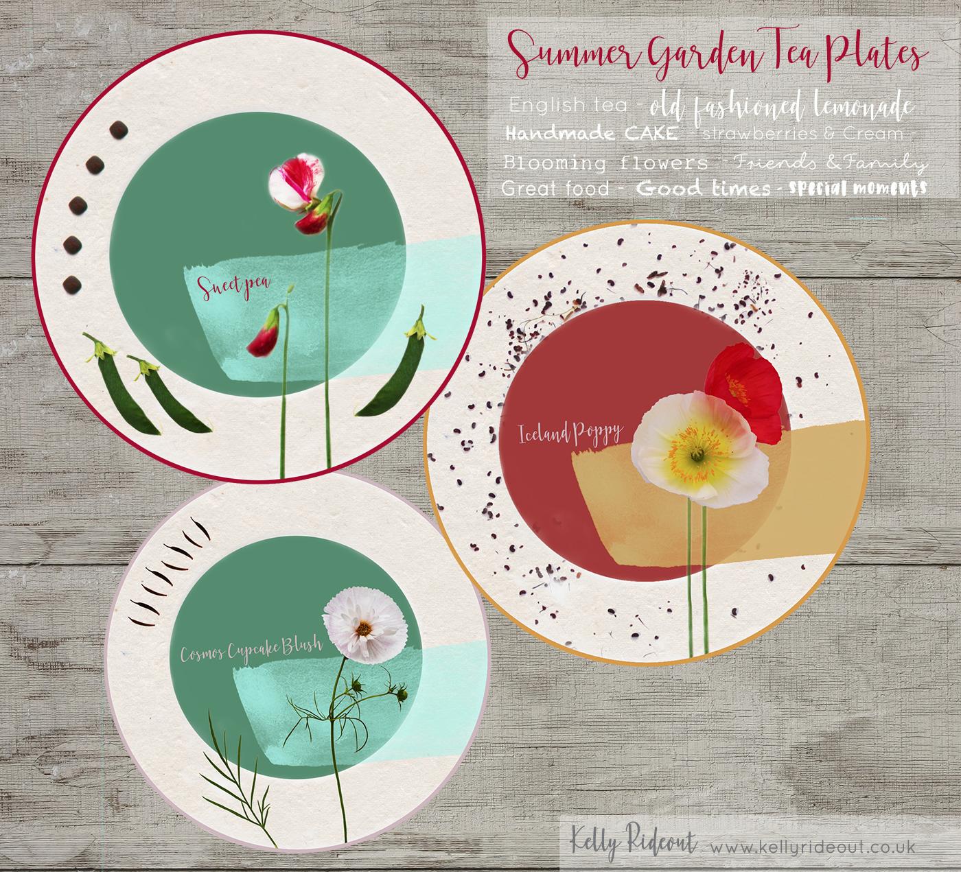 Summer Garden Tea Plates