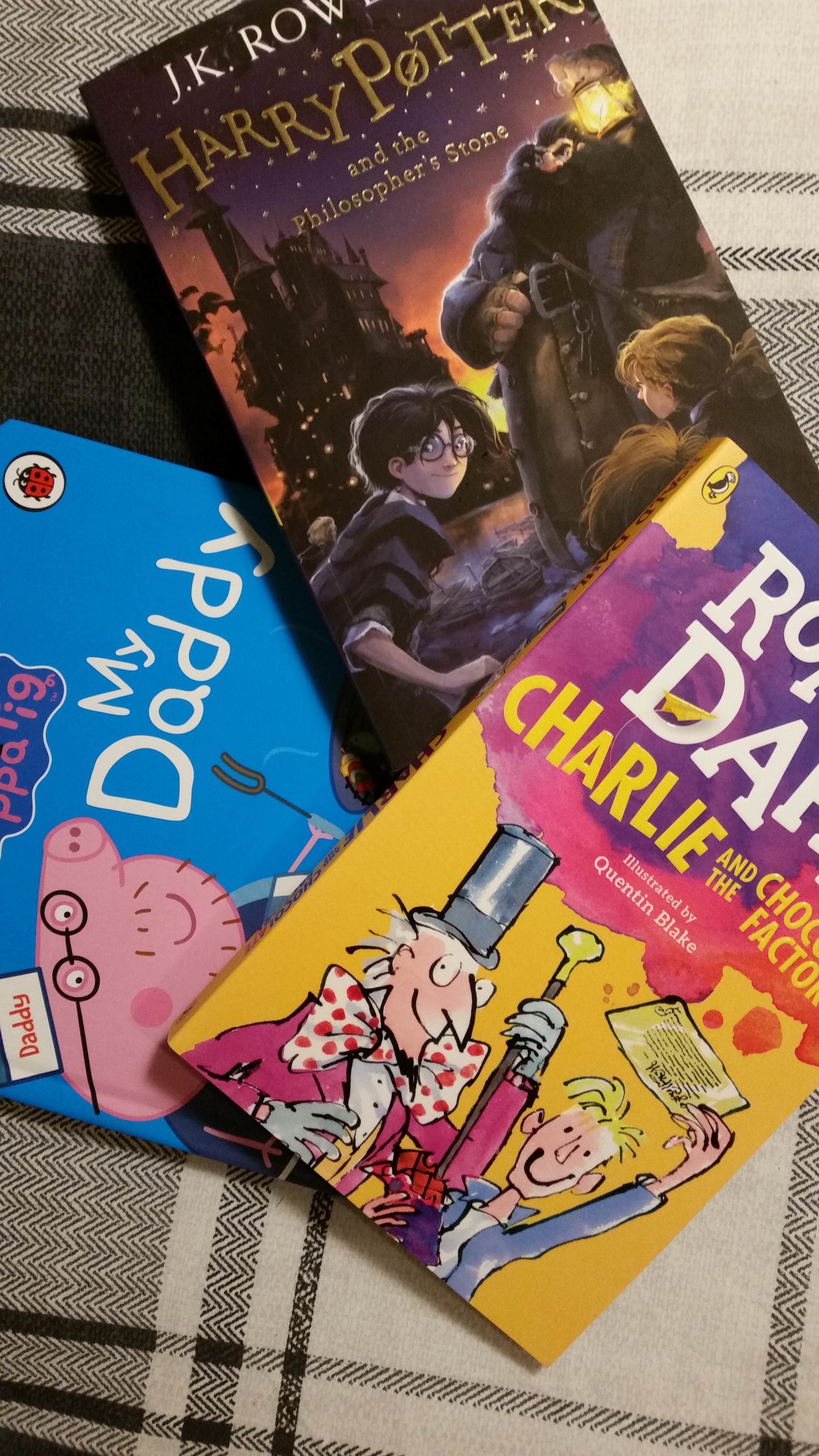Easy, medium and hard-level English books for my students I'm also bringing Starbursts and Smarties