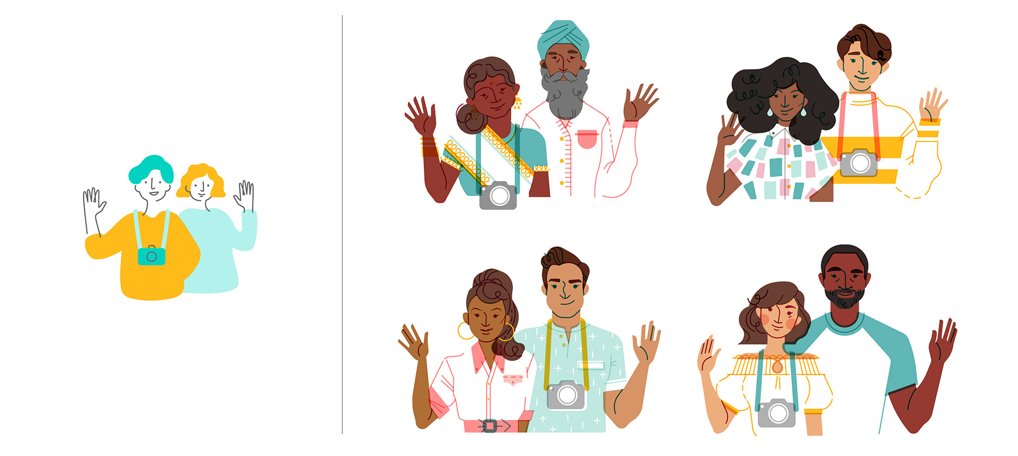 On the left, a previous Airbnb illustration style, where use of color and line imply a Caucasian character. On the right, characters created with Jennifer's intentional approach to diversity. Sourced from Jennifer's case study,  Your Face Here