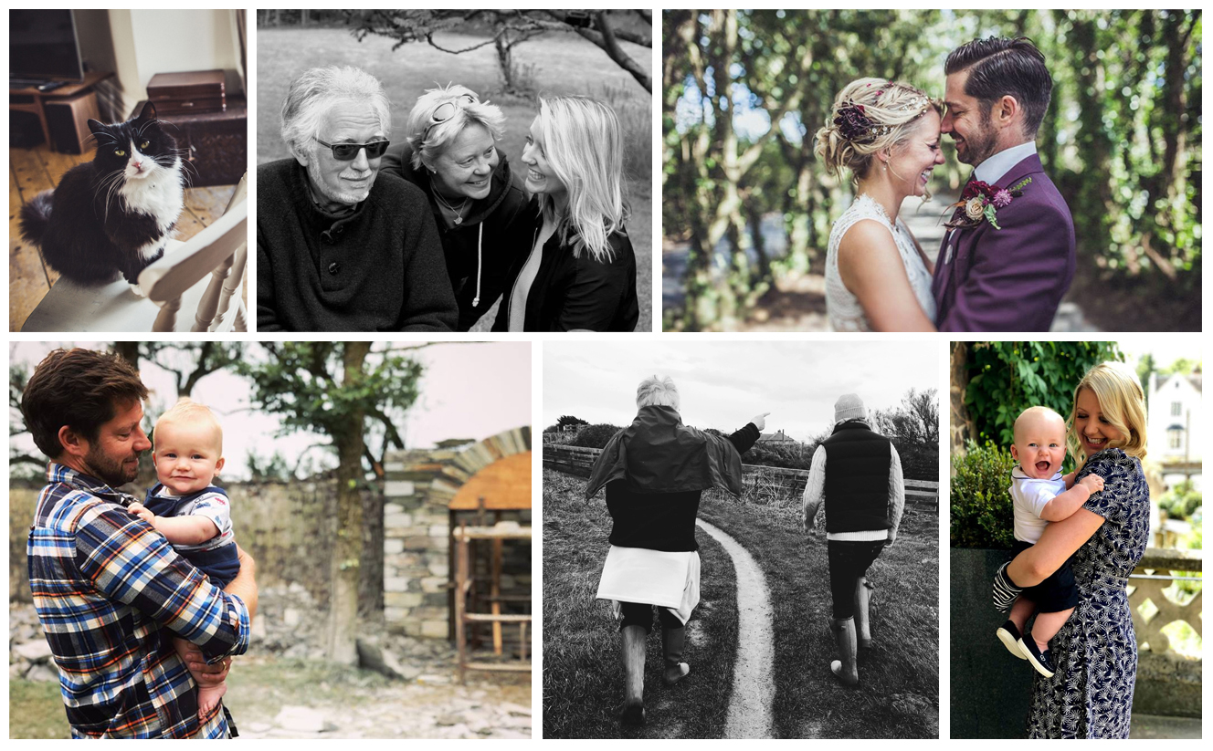 (Left - Right) Benji our first born fur baby | Dad, Mum & I | Our Wedding Day Z Ash and Ernie at Harlyn | My Dad and Ash on a Walk | Ernie & I at a friends wedding.