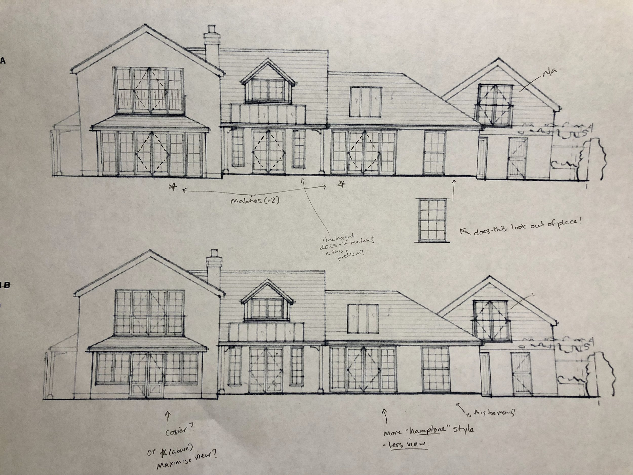 The sketch above shows larger panes and less glazing bars than the sketch below.