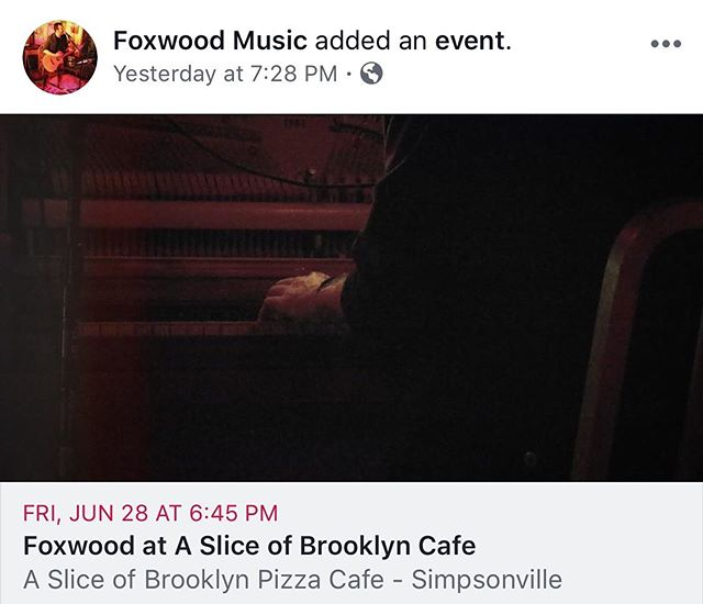 Got plans Friday night? You do now! Come to Simpsonville for the most authentic NY pizza that you can get besides going to Brooklyn. I'll be playing at @asliceofbrooklyncafe and you should be there!