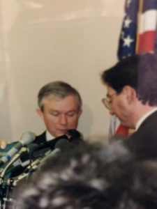 Inside the U.S. Capitol Building, 1997: Presenting then Alabama Senator Jeff Sessions with the Ten Commandments Leadership Award.