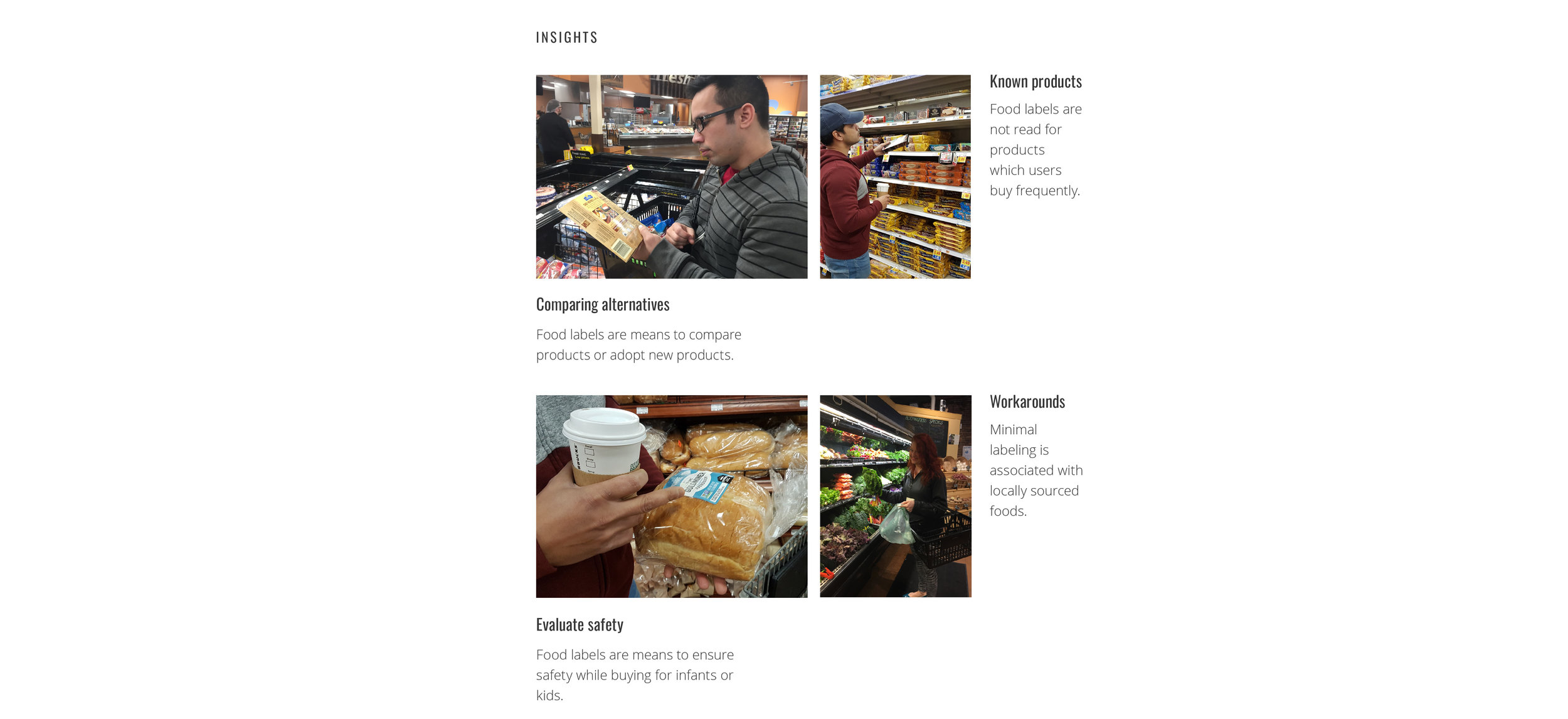 This images depicts contextual inquiry and photos of participants purchasing food. We found that food labels are often used to compare and evaluate safety.