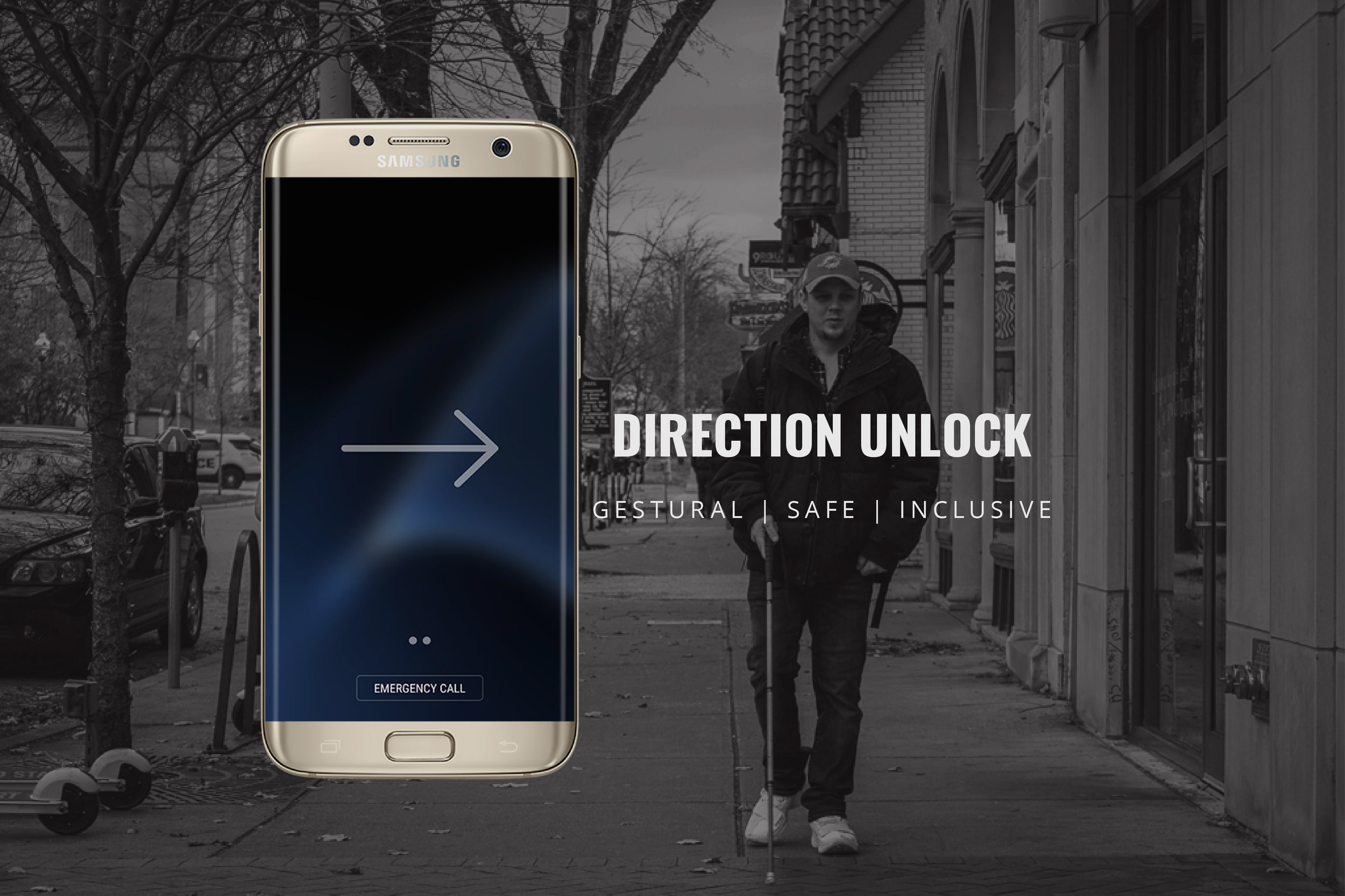 Design for Accessibility - UX design of a gestural smartphone unlock for users with vision impairments making unlocking phone gestural, safe and inclusive, intuitive, @ Samsung Electronics.