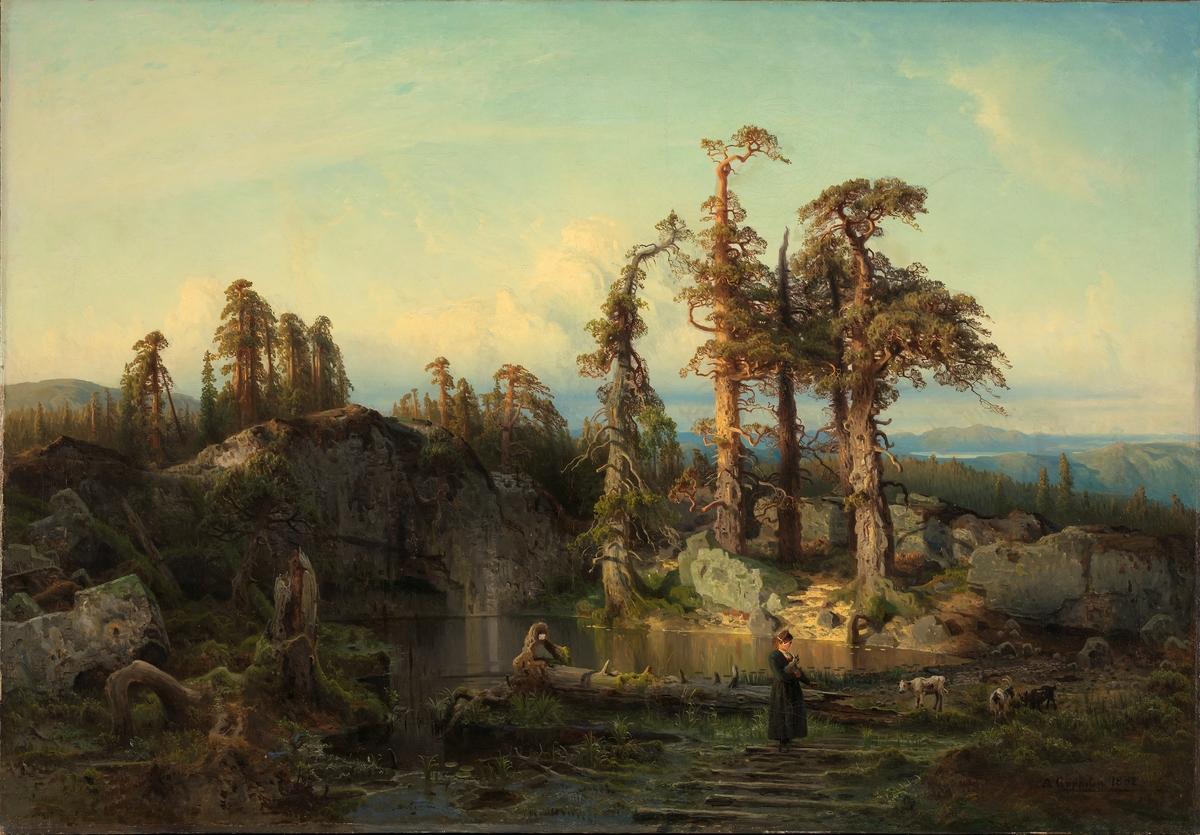Skogtjern i nedre Telemark, av August Cappelen