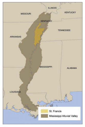 St. Francis HGM, Arkansas - Download the zip file of the St. Francis PNV GIS data (16.1 MB)View or Download a PDF of the St. Francis Basin PNV Field Atlas