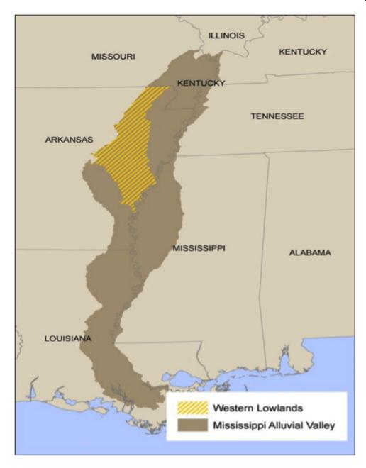 Western Lowlands HGM, Arkansas - Download the zip file of the Western Lowlands PNV GIS data (33.2 MB)View or Download a PDF of the Western Lowlands Basin PNV Field Atlas