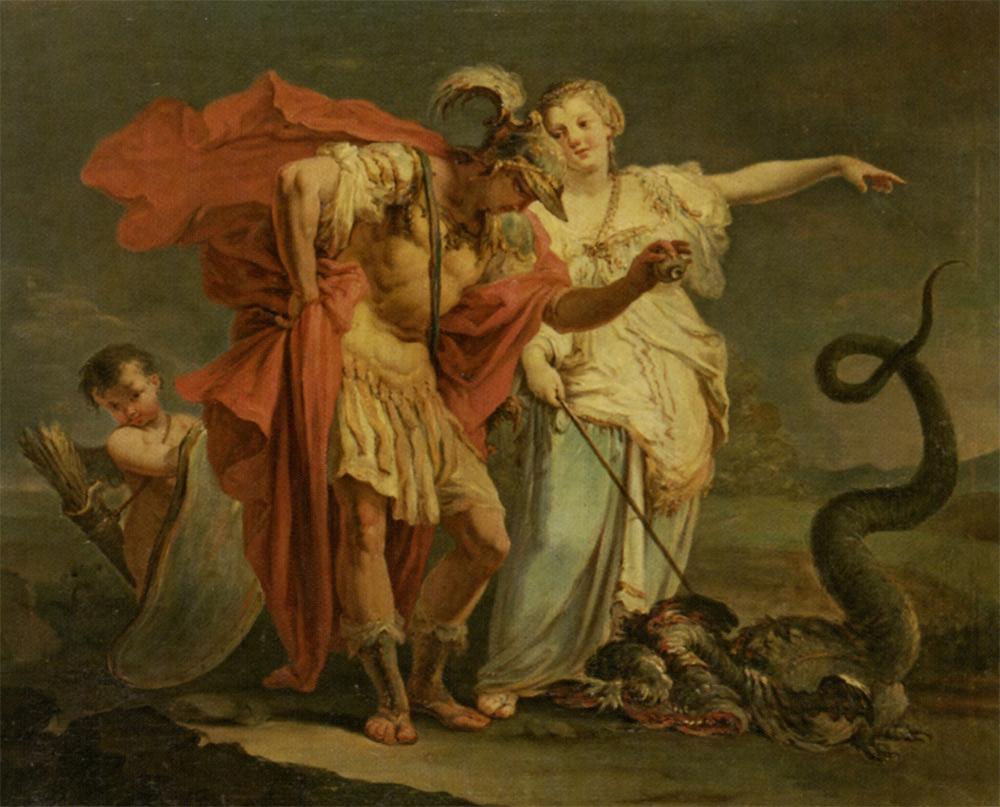 Jason fights the dragon. Source:  Giovanni Battista Crosato