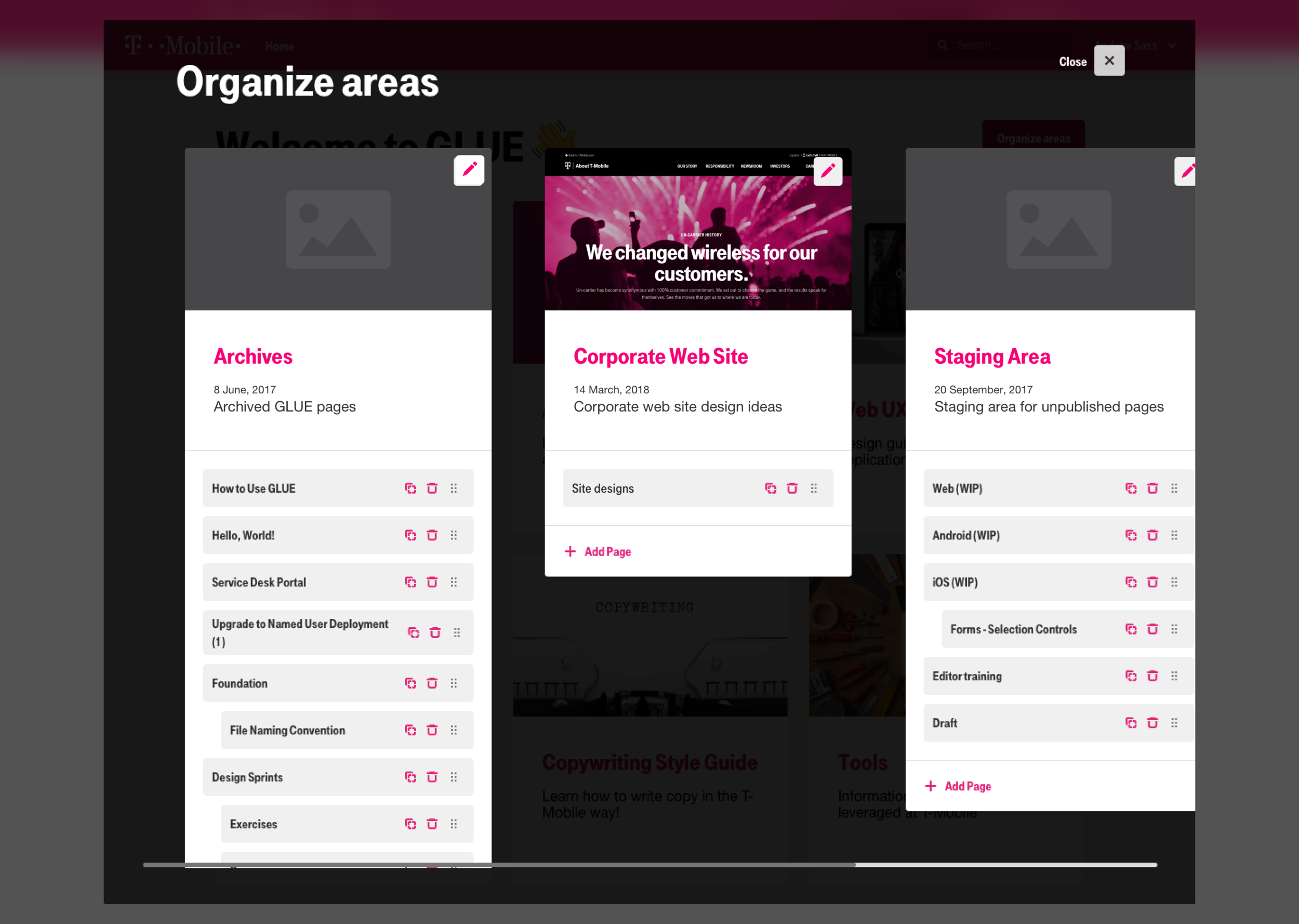 GLUE Organize areas