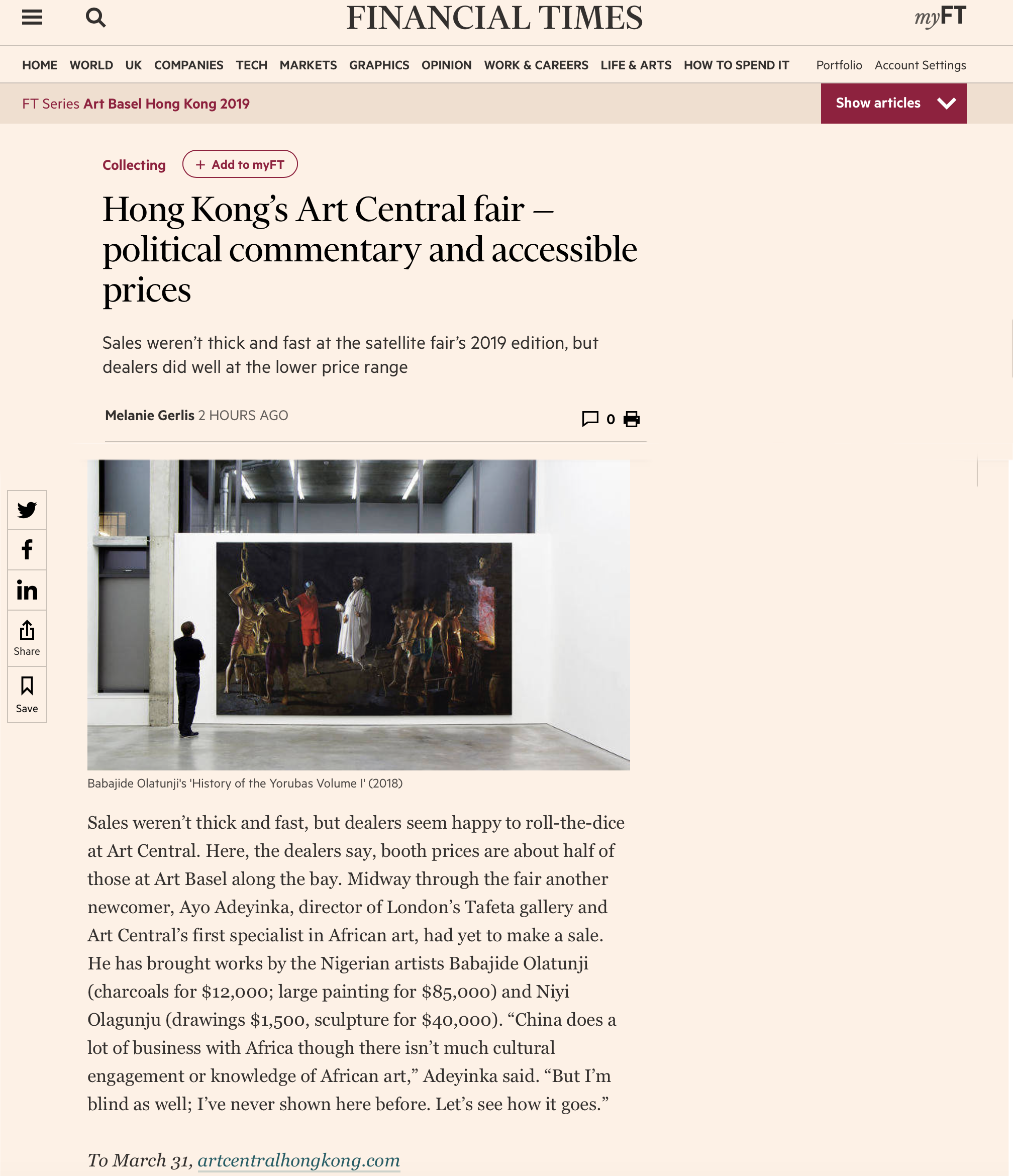 Financial Times | Hong Kong's Art Central fair — political commentary and accessible prices -