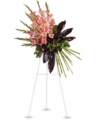 Elegant Tribute Spray    While beautiful and striking gladioli often symbolize strength and dignity, this dazzling coral display acknowledges a passion for living life to its fullest. A message that will surely be appreciated by anyone mourning a loved one.    Shop Now>>