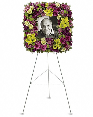 Square Easel Wreath    Purple alstroemeria, green gladioli, green carnations, purple cushion spray chrysanthemums, lavender button spray chrysanthemums, green button spray chrysanthemums and purple button spray chrysanthemums, accented with greenery.    Buy Now>>