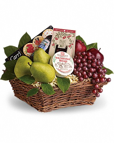Alfa's Delicious Delights Basket    It's delicious. It's delightful. It's a foody dream come true. Full of fruit, fun and more, this is a perfect gift for any occasion. Red apples and grapes, pears, yummy dried cranberries, cheese, summer sausage and crackers are all wrapped up in a wicker basket and ready to be enjoyed. Deliciously different!    Buy Now>>