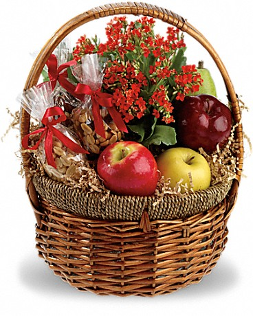 Health Nut Basket    Full of great food, and so full of goodness, including a lively orange kalanchoe plant. Apples and pears are joined by trail mix, mixed nuts, peanuts and a kalanchoe in a charming wicker basket.    Buy Now>>