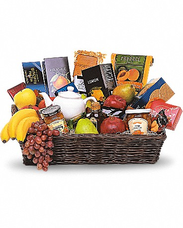 Grande Gourmet Fruit Basket    When you want to send your thoughts in a grande way, send this basket filled with fresh fruit, biscuits and tea. Nothing's grander. Fresh fruits, biscuits, chocolates and teas, along with a charming teapot, arrive in an impressive wicker tray.    Buy Now>>