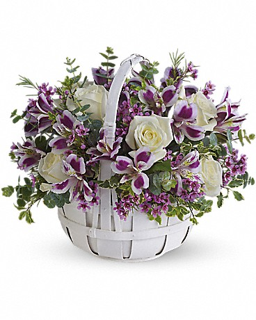 Alfa's Sweet Moments    Know someone who needs a lift? Brighten their day by sending this lovely bouquet of fresh flowers that has sweetness woven right in. Gorgeous white roses, purple alstroemeria, lavender waxflower and eucalyptus are perfectly arranged in a white basket. Perfectly sweet!    Buy Now>>
