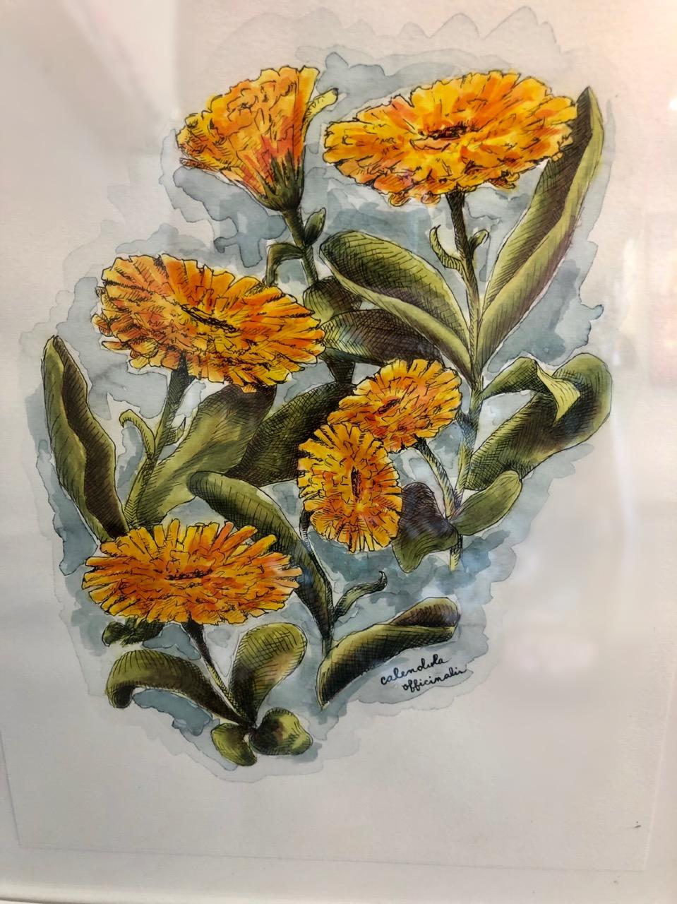 Floral watercolor glass Stewart Heath Gallery