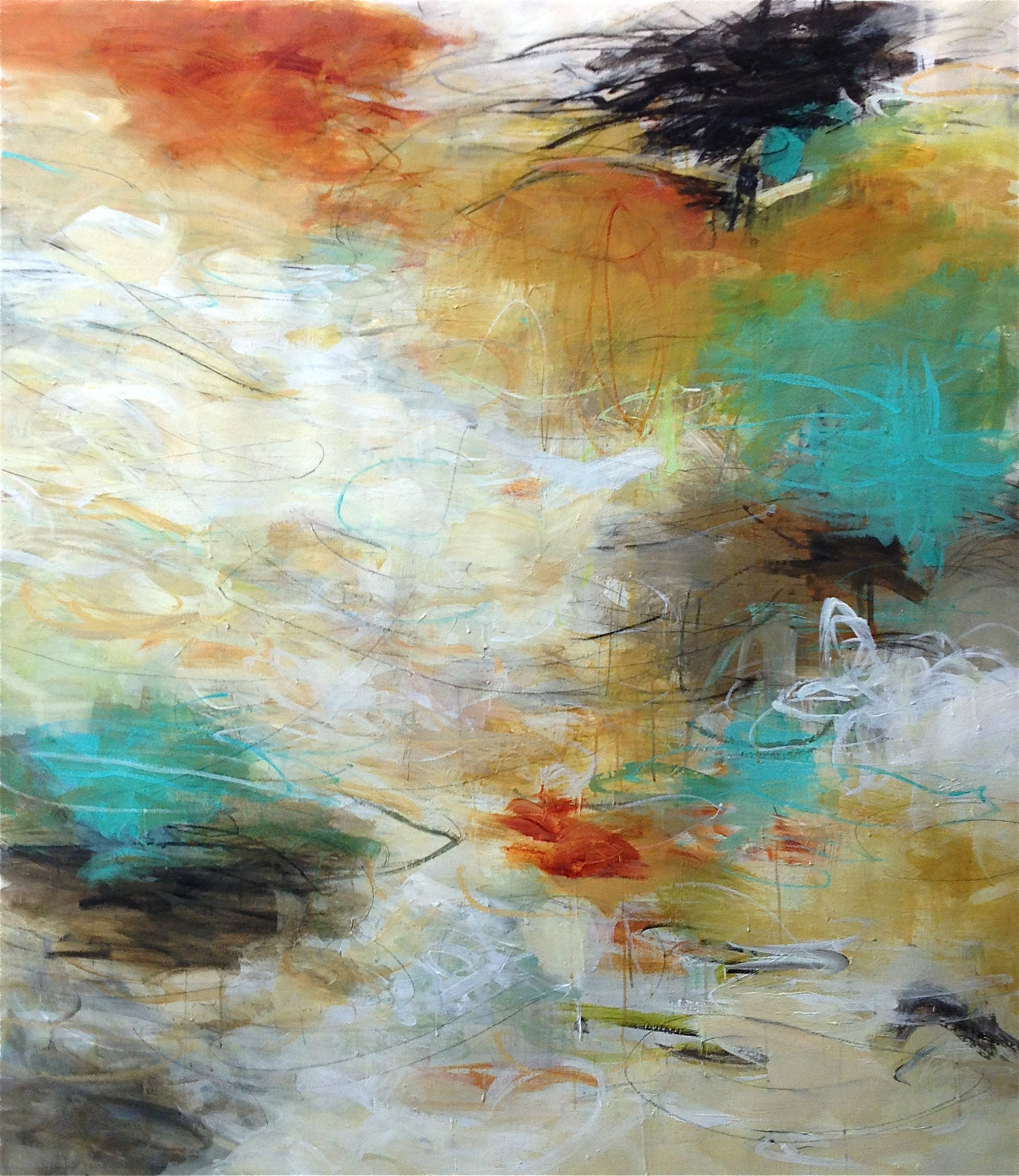"MEANDER 60"" x 48"" acrylic/mixed media on canvas"