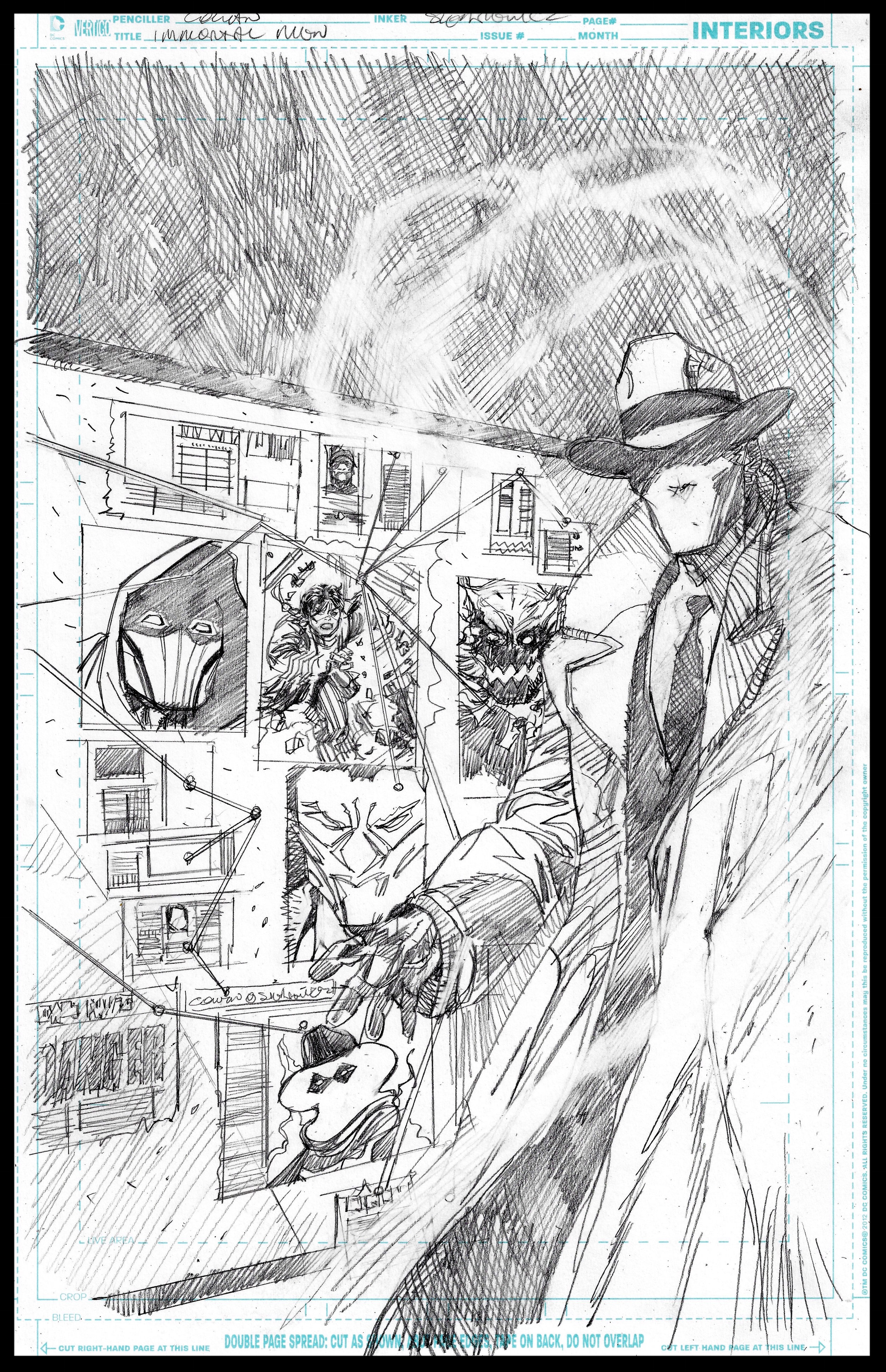Immortal Men #7 (unpublished) featuring The Question - Cover - Pencils