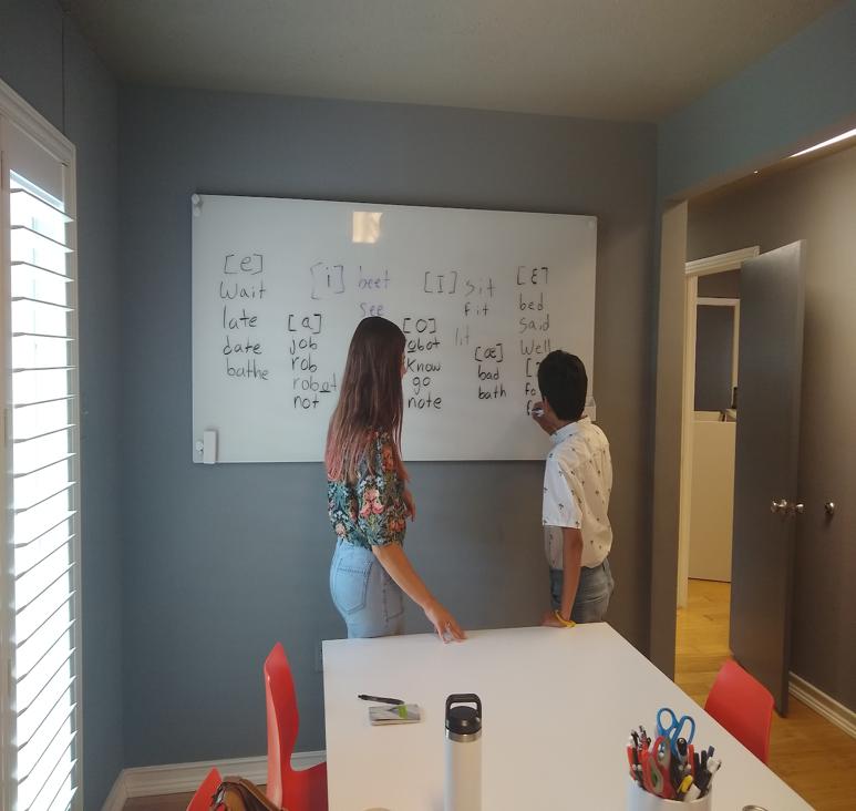 Iñigo and LanGo intern Marison working on IPA vowel symbols and corresponding example words.