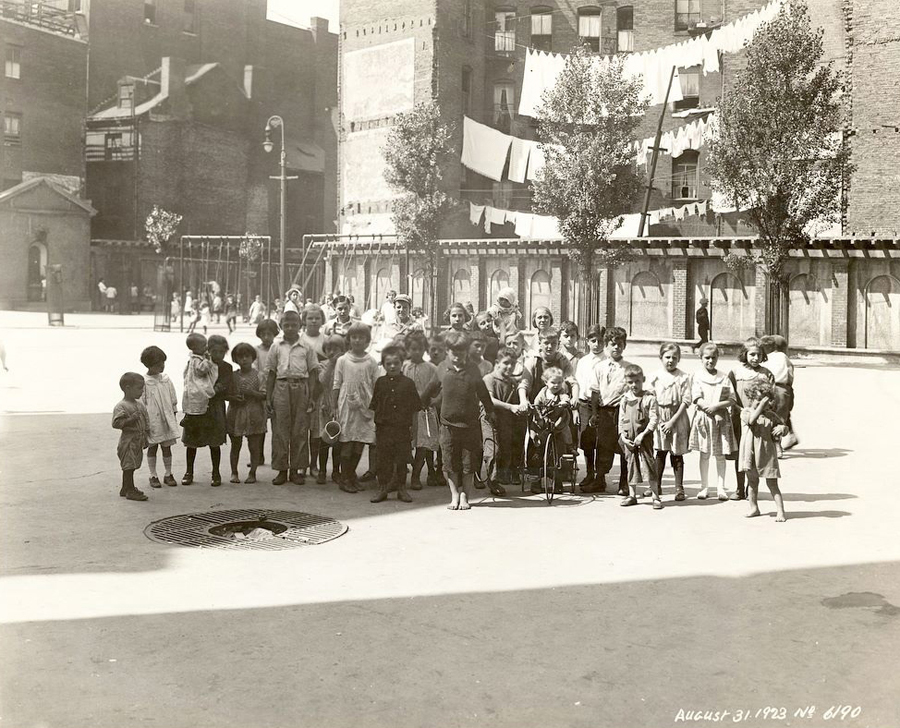 a group photo of children in vincent cutillo park in 1923