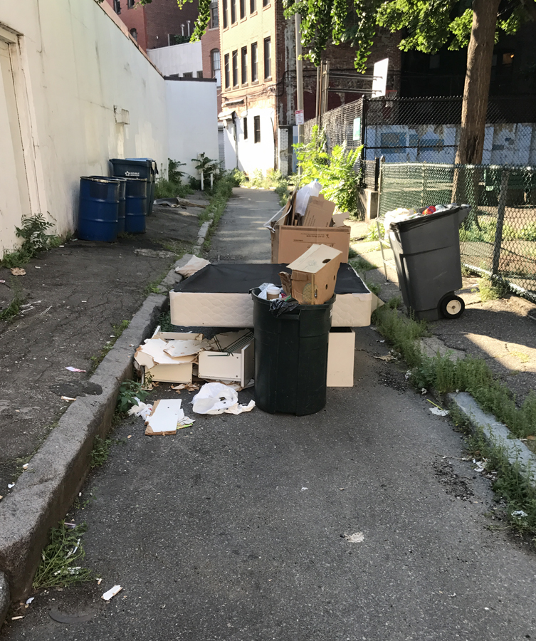 trash piled up outside the entrance to the park