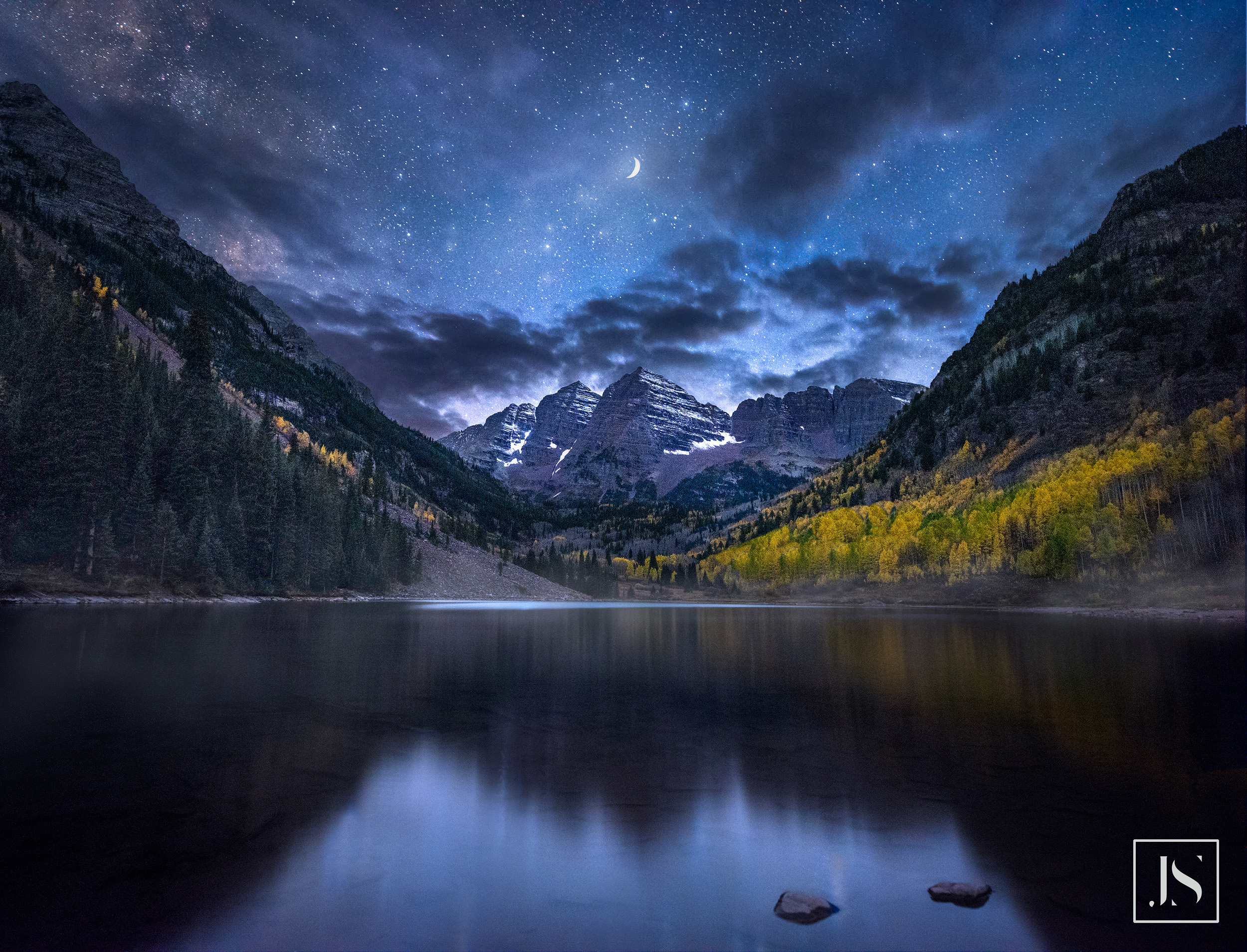 Moon Over Maroon Bells