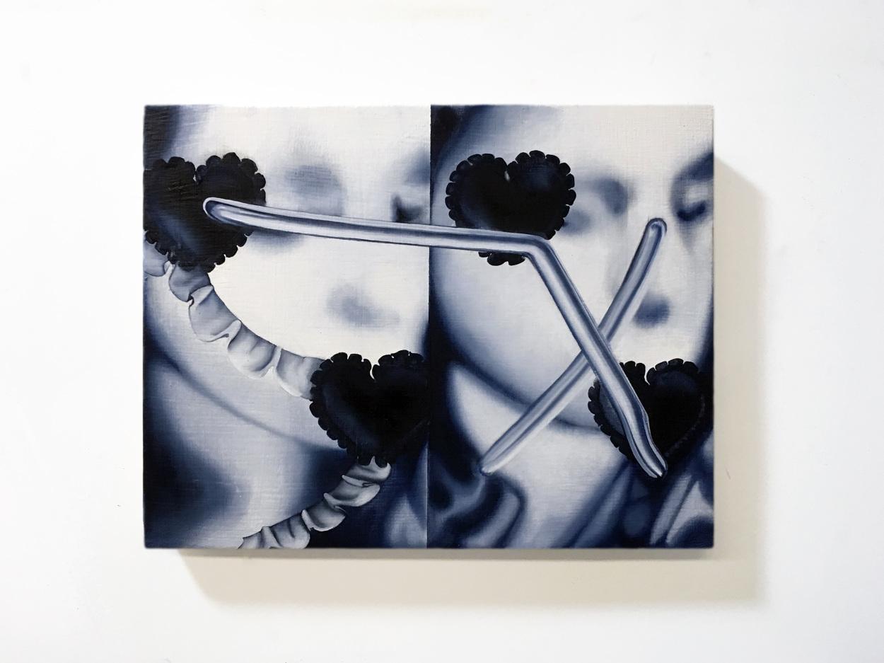Marcela Florido      @m.florido    Portrait Kiss (X), 2018  Oil on canvas 11 X 14 in