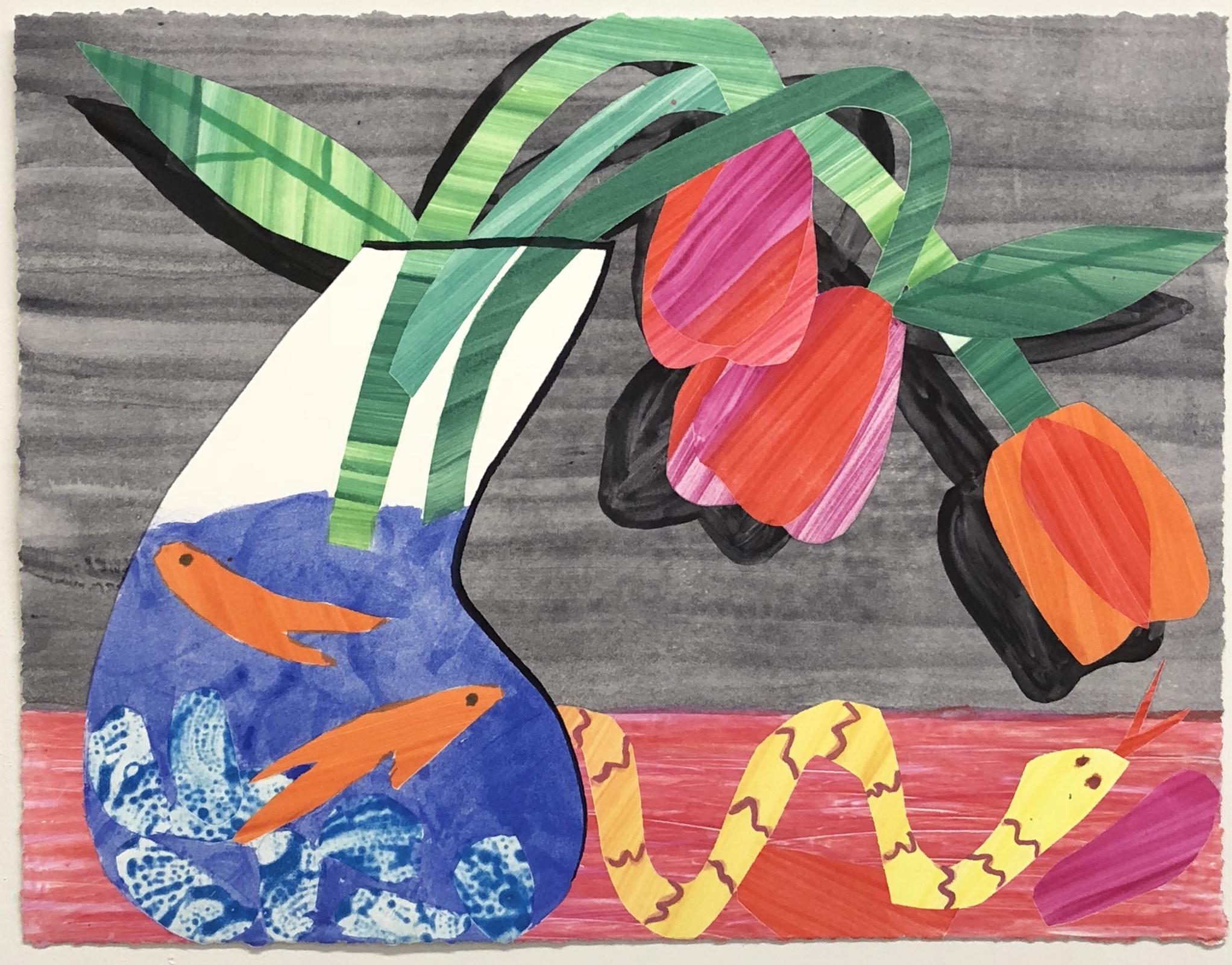 Karen Lederer      @krlederer    Untitled, 2018  Watercolor monoprint 11 x 14 in.