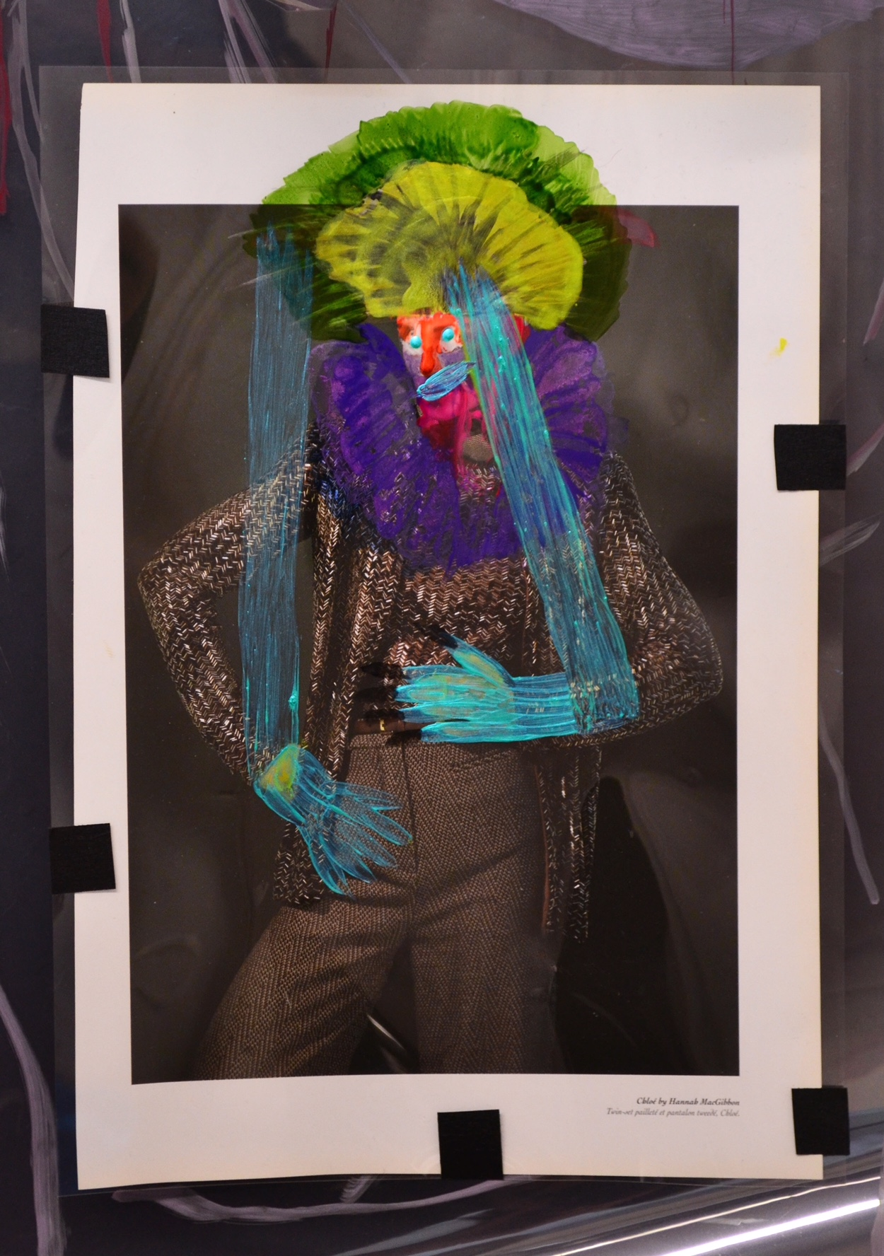 Ala Dehghan     TechnoSelf: Persona #13/Puppet Images for Theater of Cruelty , 2018 mixed media 9 x 12 in.
