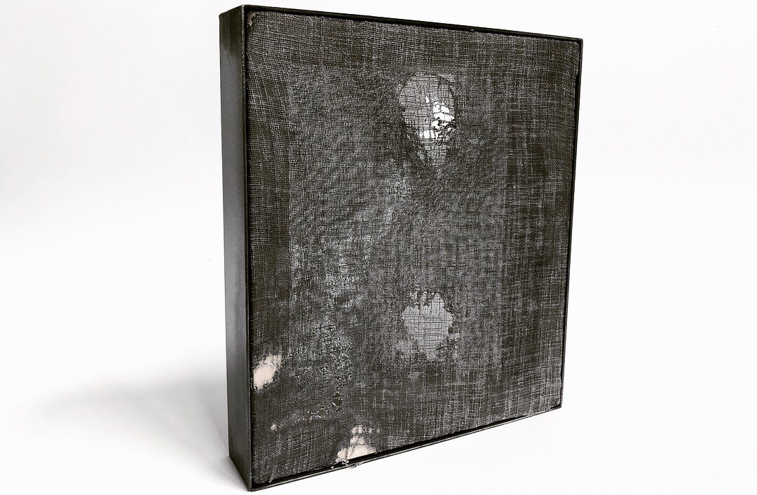Diego Anaya      @diego_anaya    A través de los 4 Elementos , 2018 Fabric, Wood and Steel. 9 x 9 x 2 in.