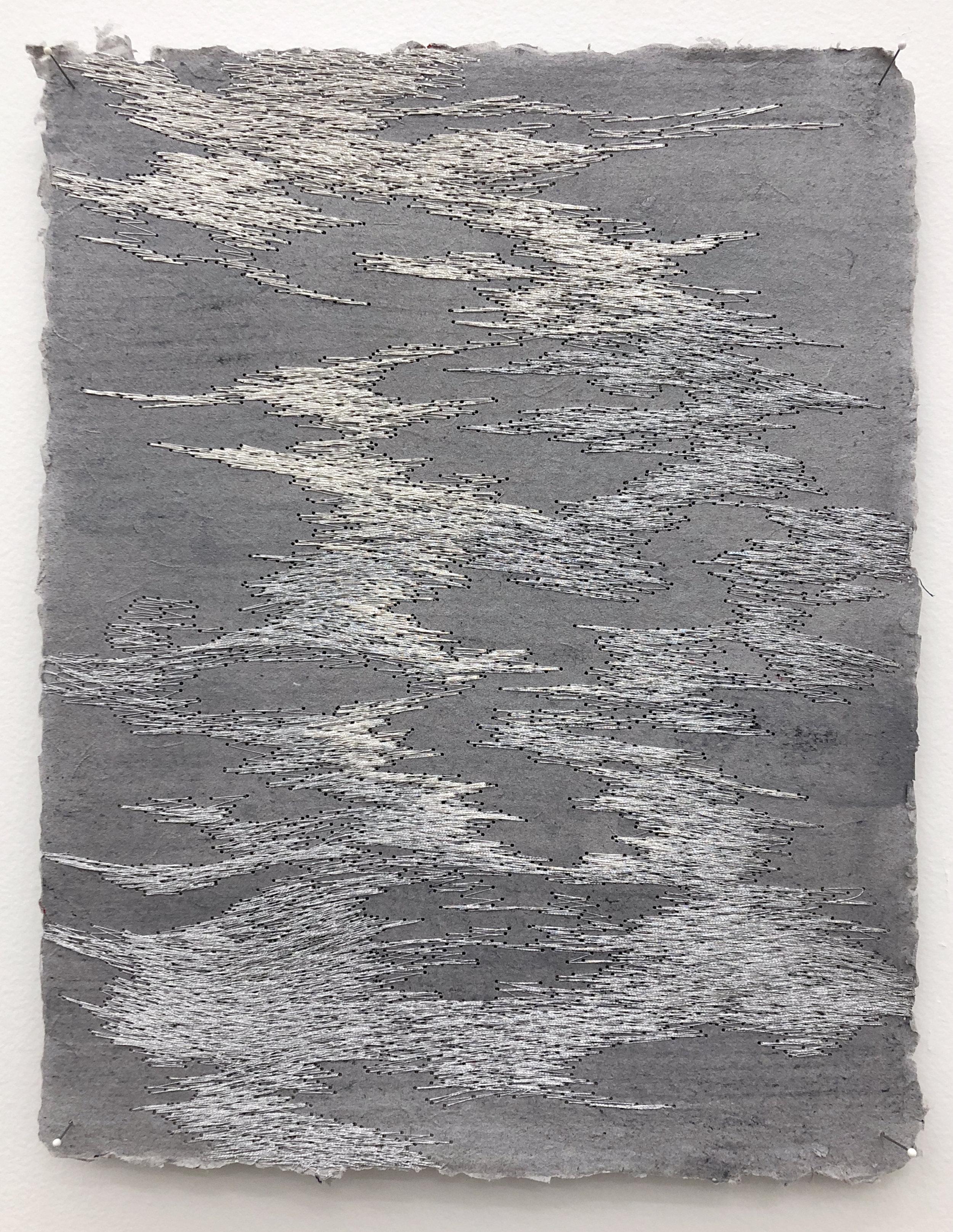 Jessie Henson      @jhensonnyc    Untitled , 2018 Polyester thread on handmade paper 9 x 11.25 in.