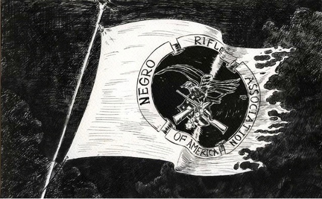Mark Thomas Gibson      @darthgibson    NRA Flag , 2018 Ink on Paper 17 x 13 in