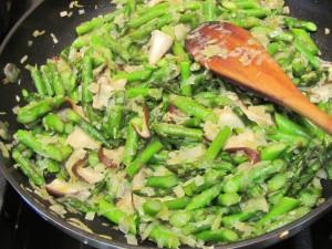 asparagus shiitakes cooking