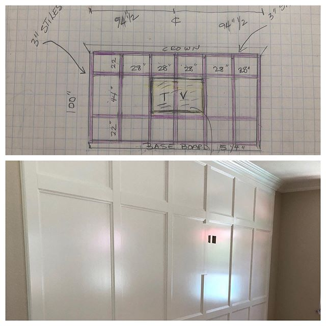 From concept and a quick sketch...this beautiful TV wall is born and the clients love it!