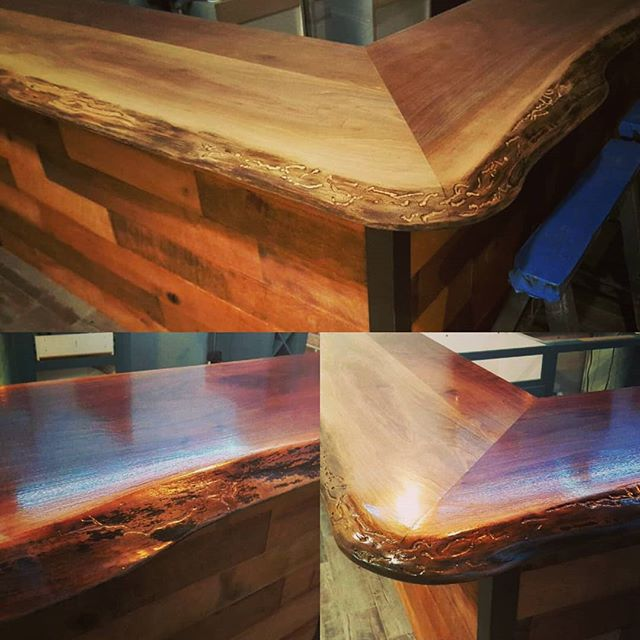 Superb job on this natural edge bar top miter. Making it look easy! #mulvainwood #naturaledge #liveedge #sawmill #wood #saw #woodworking #locallymade #workshop #heavy #workshop #mitersaw #shape #easy #bartop #drinks #weekend