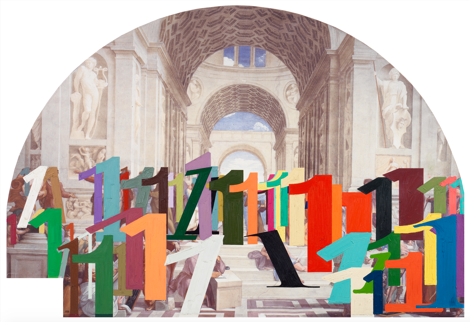 [Image Description: A semicircular image depicts a painted greco-roman interior. The cavernous room is made of carved marble, with lofty vaulted ceilings, and allegorical marble sculptures on the walls. Across the foreground the number 1 is depicted in numerous sizes, shapes, and colors.]