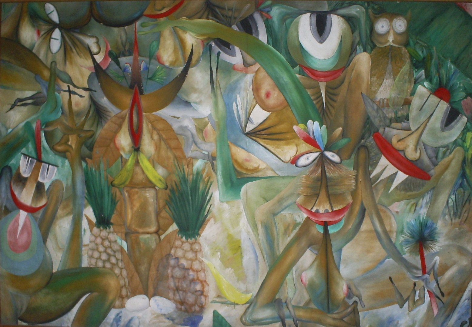 Manuel Couceiro,  Sin título  (Untitled), date unknown. [Image Description: An abstract rectangular painting composed in brown, green, red, and yellow, features a swirl of humanoid figures with distorted bodies and faces among green leaves. Between the figures are fruits including pineapples and bananas, while an owl, perched on a branch, peers outward from the top right corner.]