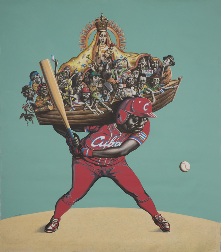 """Reynerio Tamayo,  El Cuarto Bate   (The Cleanup Hitter) , 2013. [Image Description: A baseball player stands on a sand-colored mound against a turquoise background. The player, wearing a red uniform with """"Cuba"""" written across his chest, holds a bat and glances at a baseball headed towards him from the right. On his shoulders is a wooden boat filled with jeering fans, the largest of which is a Madonna figure, who wears a gold robe and crown, with a gold halo surrounding her head.]"""