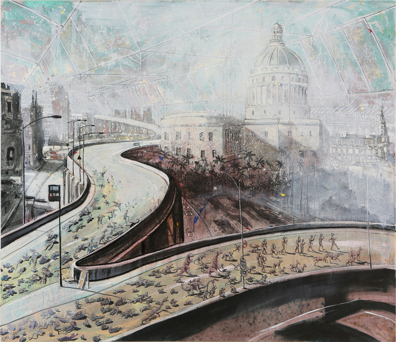 Douglas Pérez,  Retiro/Retreat , 2010. [Image Description: A painting depicts an elevated highway in an urban environment. In the foreground, two lanes diverge and snake outwards from the bottom left of the image. Walking along the road are various creatures, ranging from single-celled organisms and dinosaurs, to humans and dogs. In the background is a city, with a large, domed white building at the center surrounded by palm trees.]