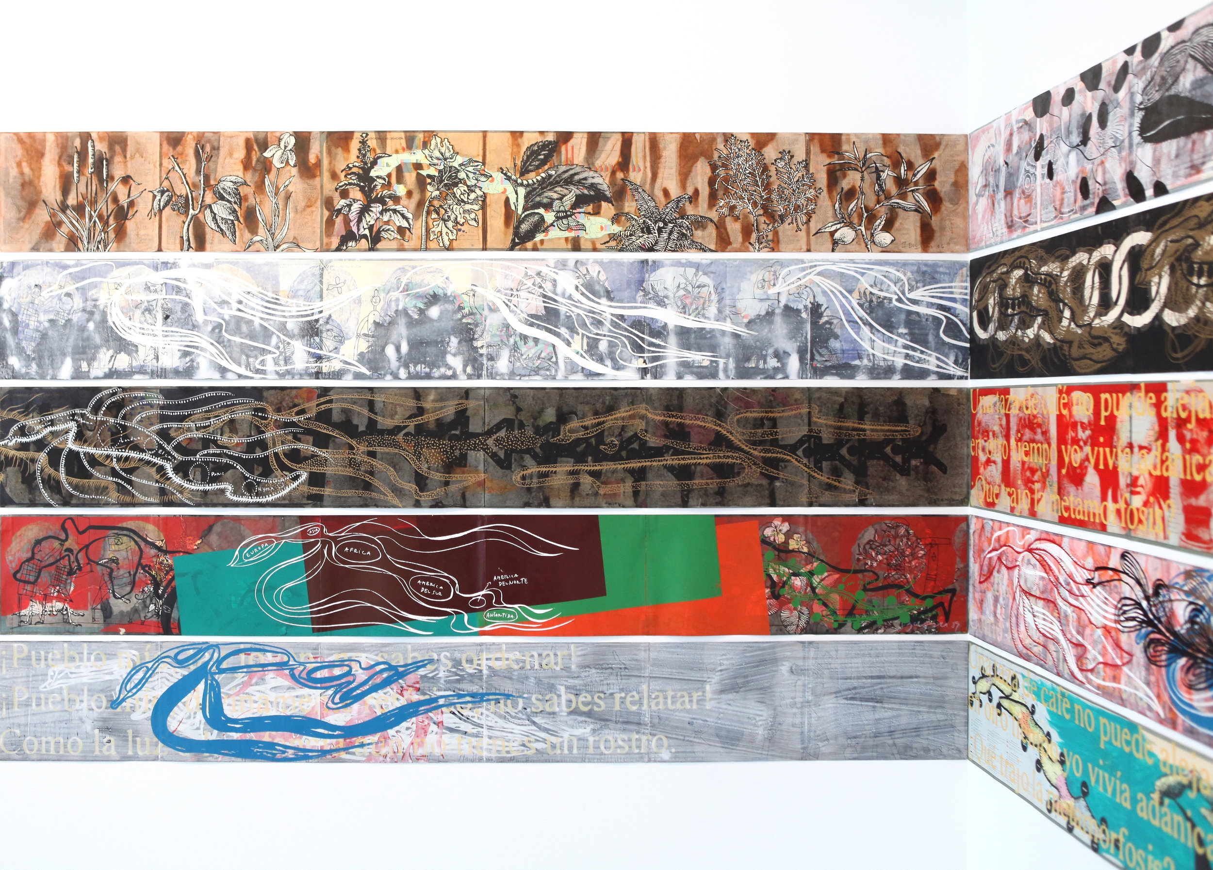 Ibrahim Miranda, from the series  Mapas , 2008-2012. [Image Description: 5 horizontal rows of colorful woodblock prints, with varying images alluding to islands including palm trees, ocean currents, and maps.]